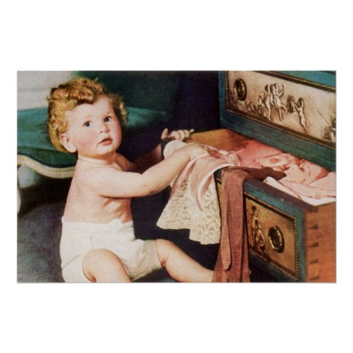 Niño lindo del vintage, chica del niño pequeño que póster