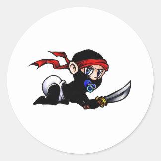 Niño Ninjutsu de Ninja del bebé Pegatina Redonda