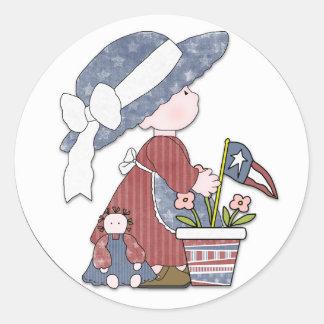 Niño patriótico de la libertad pegatina redonda