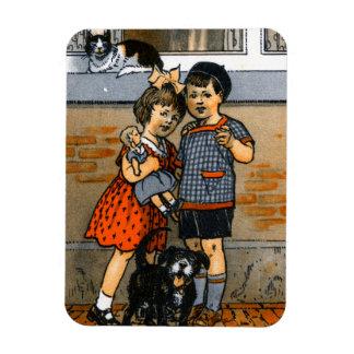 Niño pequeño y chica holandeses iman rectangular
