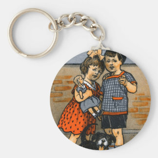 Niño pequeño y chica holandeses llavero redondo tipo pin