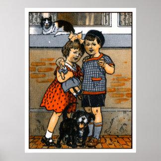 Niño pequeño y chica holandeses póster
