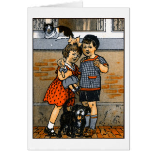 Niño pequeño y chica holandeses tarjeta de felicitación