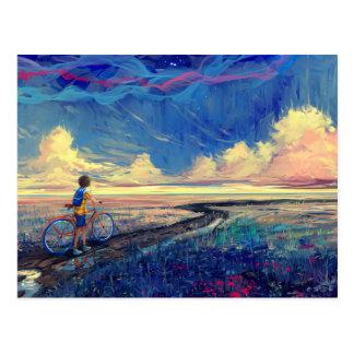 Niño que camina una pintura de la bicicleta tarjetas postales