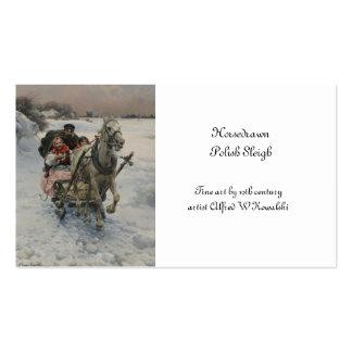 Niño que conduce un trineo traído por caballo tarjetas de visita