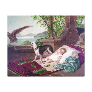 Niño que duerme con el perro por la pintura impresiones de lienzo