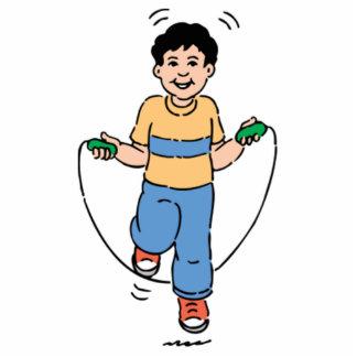 Niño que juega con una comba esculturas fotográficas