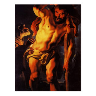 Niño que lleva de Christopher de santo de Jacob Jo Tarjeta Postal