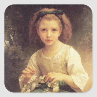 Niño que trenza una corona de W.A. Bouguereau Pegatina Cuadrada