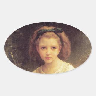 Niño que trenza una corona de W.A. Bouguereau Pegatina Ovalada