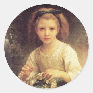 Niño que trenza una corona de W.A. Bouguereau Pegatina Redonda
