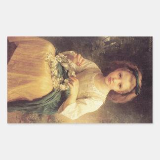Niño que trenza una corona de W.A. Bouguereau Pegatina Rectangular