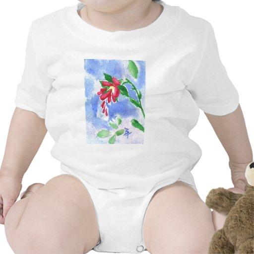Niño rojo del aceo de la flor del amor traje de bebé
