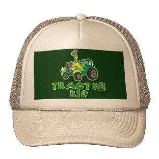 Niño verde del tractor gorros bordados