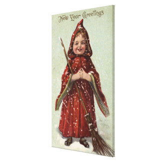 Niño vestido en capa roja impresiones en lona estiradas