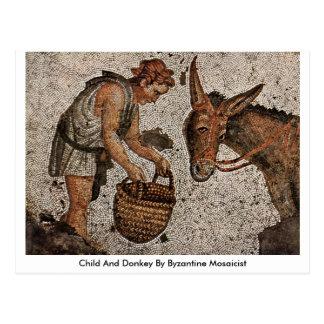 Niño y burro del fabricante de mosaicos bizantino tarjetas postales