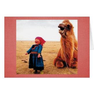 Niño y camello de la Belly-Risa Tarjeta