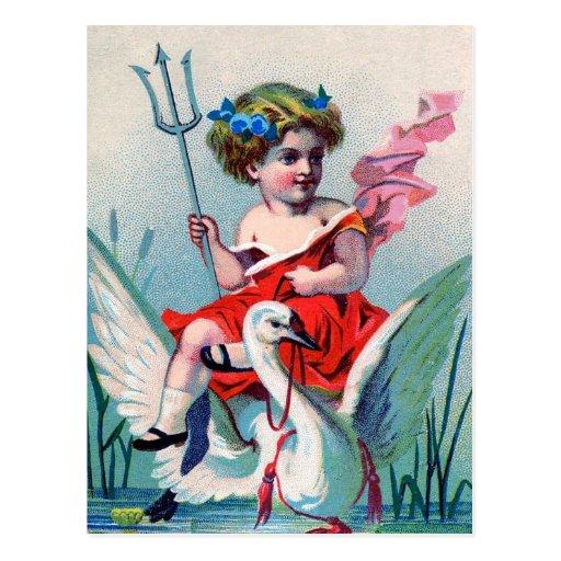 Niño y cisne del diablo del vintage