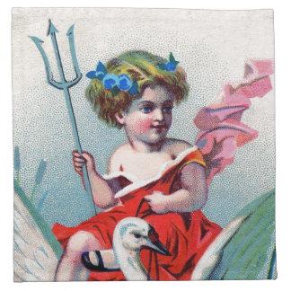 Niño y cisne del diablo del vintage servilleta