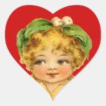 Niño y empanada del vintage pegatina en forma de corazón