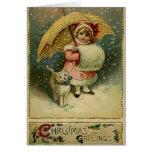 Niño y gato del Victorian en tarjeta de Navidad de