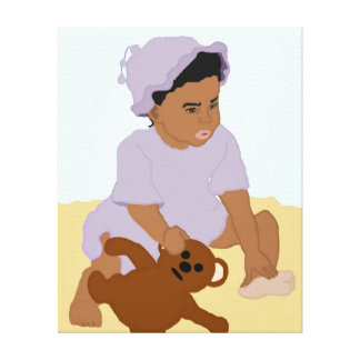 Niño y lona envuelta peluche impresión en lona estirada