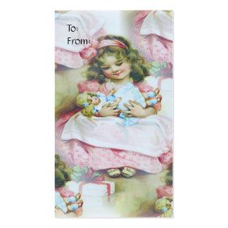Niño y muñeca - etiqueta del vintage del regalo tarjetas de visita
