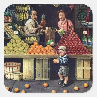 Niño y naranjas pegatina cuadrada