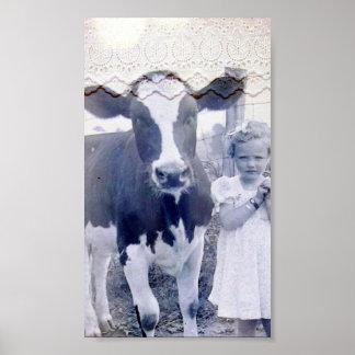 Niño y vaca del vintage póster