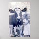 Niño y vaca del vintage posters