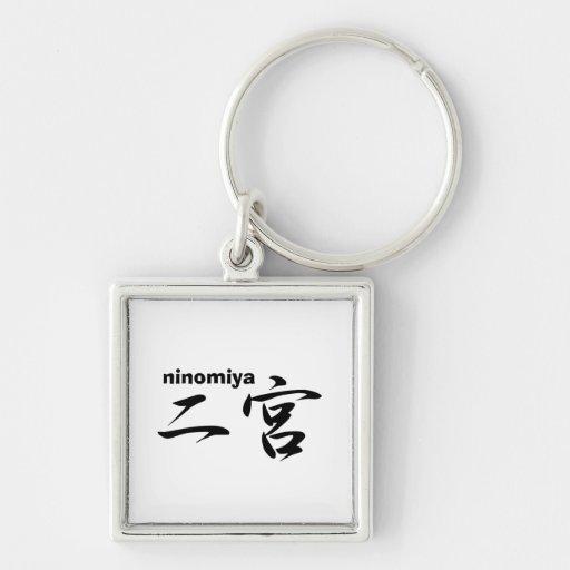 ninomiya Silver-Colored square keychain