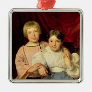 Niños, 1834 adorno navideño cuadrado de metal