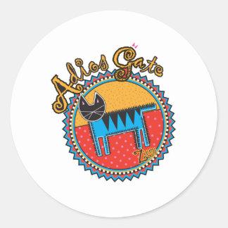 Niños Adios Gato Round Stickers