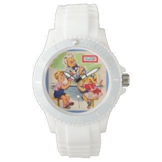 niños adorables en la fuente de soda relojes de pulsera