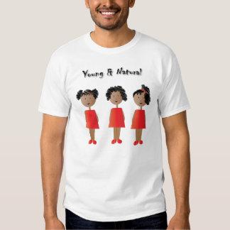 Niños afroamericanos y pelo natural playeras