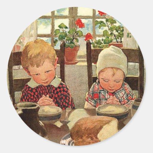 Niños agradecidos del vintage; Jessie Willcox Etiquetas Redondas