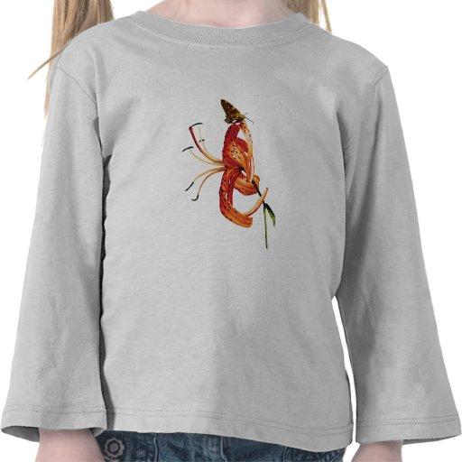 Niños anaranjados del lirio tigrado del capitán camisetas