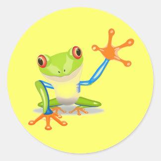 Niños animales divertidos de la rana colorida etiqueta redonda