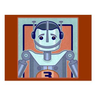 Niños azules retros del robot tarjeta postal