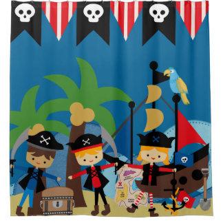 Niños barco pirata y piratas cortina de baño