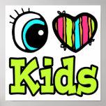 Niños brillantes del amor del corazón I del ojo Impresiones