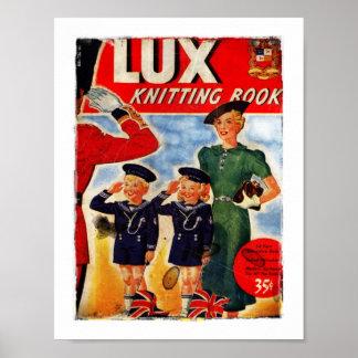 Niños británicos patrióticos que saludan al soldad póster