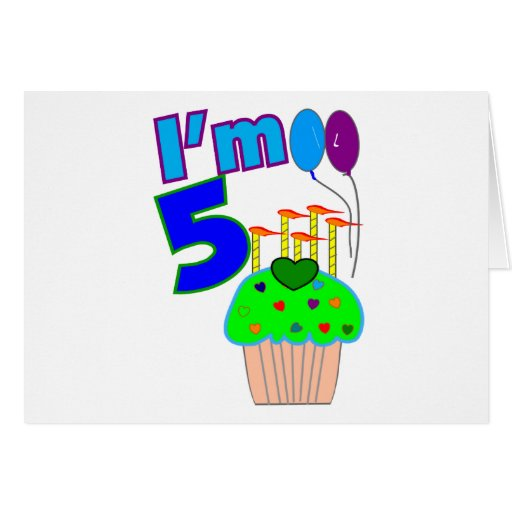 Niños camisetas y regalos 5 años del cumpleaños tarjeta