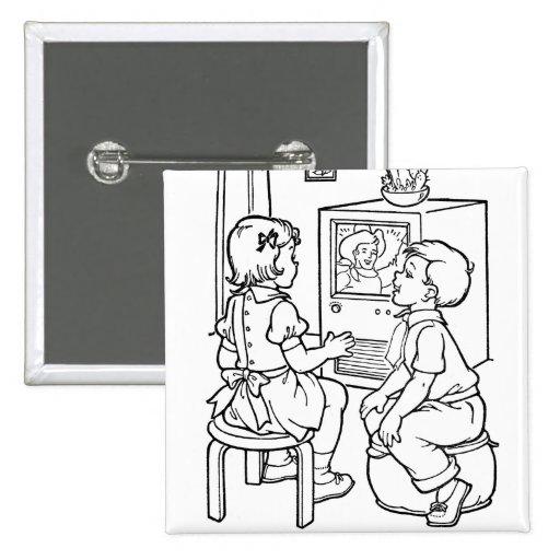 Niños cariñosos retros del libro de colorear TV de Pin Cuadrada 5 Cm