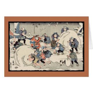 Niños chinos en la nieve tarjeta de felicitación