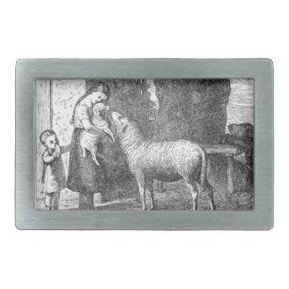 Niños con arte del vintage de las ovejas hebillas de cinturón rectangulares