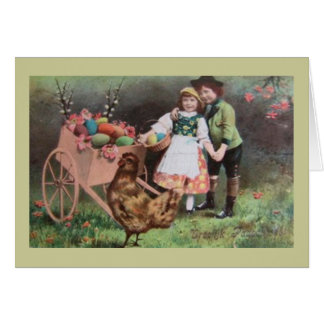 Niños con el carro de los huevos de Pascua Tarjeta De Felicitación