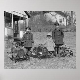 Niños con el pedal Cars 1924 Impresiones