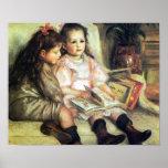 Niños con la impresión de Renoir de los libros Poster