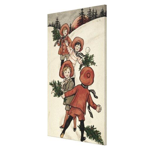 Niños con las bolas de nieve que lanzan del acebo impresión en lona estirada